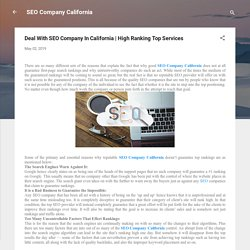Deal With SEO Company In California