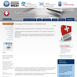 Company Formation Switzerland, Form Company in Switzerland