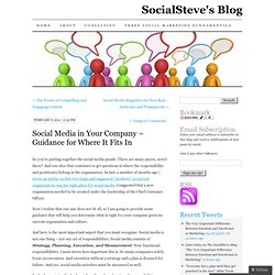 Social Media in Your Company – Guidance for Where It Fits In