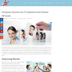 Company Intranet Use To Optimize And Achieve HR Goals