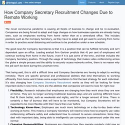 How Company Secretary Recruitment Changes Due to Remote Working