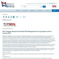 Zero Company Named Seventh Best PPC Management Firm by topseos.com for January 2015
