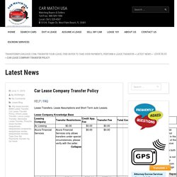 Car Lease Company Transfer Policy Directory, Transfer Your Car Lease
