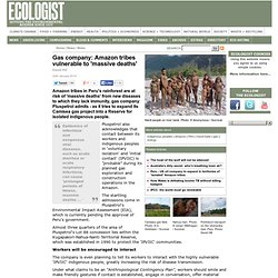 Gas company: Amazon tribes vulnerable to 'massive deaths' - News