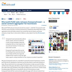Microsoft FUSE Labs releases CompanyCrowd – a social content aggregator for businesses