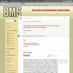 Comparaison inter-classements des revues en sociologie-démographie et en science politique