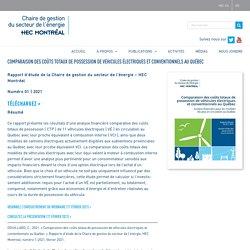 Comparaison des coûts totaux de possession de véhicules électriques et conventionnels au Québec – Chaire de gestion du secteur de l'énergie