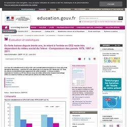 En forte baisse depuis trente ans, le retard à l'entrée en CE2 reste très dépendant du milieu social de l'élève - Comparaison des panels 1978, 1997 et 2011