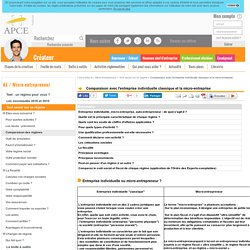 Comparaison avec l'entreprise individuelle classique et la micro-entreprise - APCE, agence pour la création d'entreprises