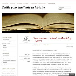 Comparaison: Endnote – Mendeley – Zotero
