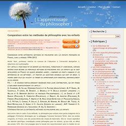 Comparaison entre les méthodes de philosophie avec les enfants