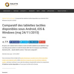Comparatif de 44 tablettes tactiles disponibles sous Android, Windows, iOS (maj 28/11/2012)