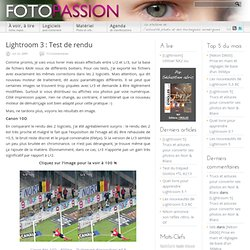 Comparatif Lightroom 2 et Lightroom 3 | Lightroom | FotoPassion
