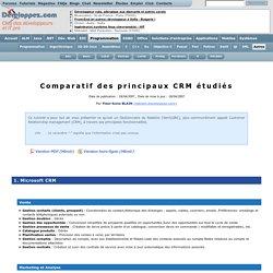 Comparatif des principaux CRM étudiés