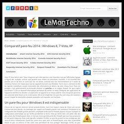Comparatif pare-feu 2014 : Windows 8, 7 Vista, XP