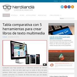 Tabla comparativa con 5 herramientas para crear libros de texto multimedia