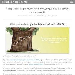 Comparativa de proveedores de MOOC, según sus términos y condiciones (II)
