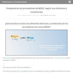 Comparativa de proveedores de MOOC, según sus términos y condiciones