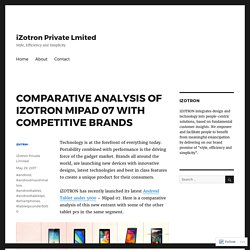 COMPARATIVE ANALYSIS OF IZOTRON MIPAD 07 WITH COMPETITIVE BRANDS – iZotron Private Lmited