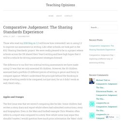 Comparative Judgement: The Sharing Standards Experience – Teaching Opinions