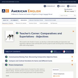 Teacher's Corner: Comparatives and Superlatives - Adjectives