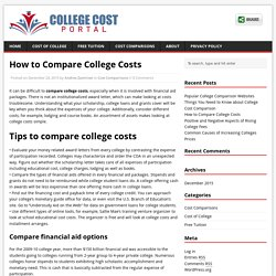 How to Compare College Costs