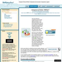 Comparer Fichiers 'Diff Doc' Comparaison de documents. Comparaison Logiciel
