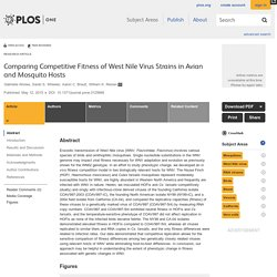 PLOS 12/05/15 Comparing Competitive Fitness of West Nile Virus Strains in Avian and Mosquito Hosts