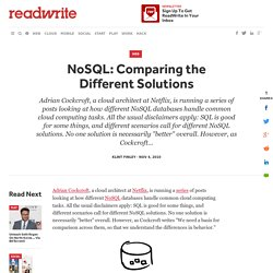 NoSQL: Comparing the Different Solutions - ReadWriteCloud
