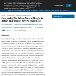 SCIENTIFIC REPORTS 16/03/20 Comparing Social media and Google to detect and predict severe epidemics
