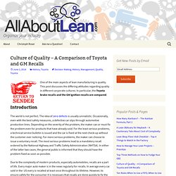 Culture of Quality – A Comparison of Toyota and GM Recalls