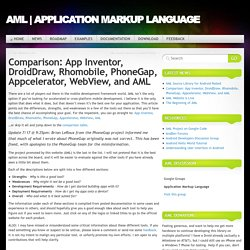 Comparison: App Inventor, DroidDraw, Rhomobile, PhoneGap, Appcelerator, WebView, and AML