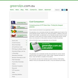 Green Slips Cost Comparison - Cheap Green Slips - Green Slip Calculator - greenslips.com.au