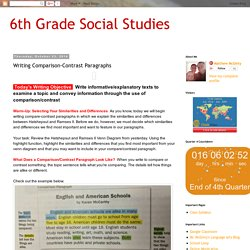 6th Grade Social Studies : Writing Comparison-Contrast Paragraphs