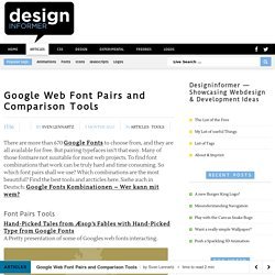 Google Web Font Pairs and Comparison Tools — Designinformer