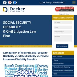 Comparison of Federal Social Security Disability vs. State disability vs. Private Insurance Disability Benefits