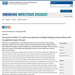 CDC EID - DEC 2018 - Comparison of 2016–17 and Previous Epizootics of Highly Pathogenic Avian Influenza H5 Guangdong Lineage in Europe