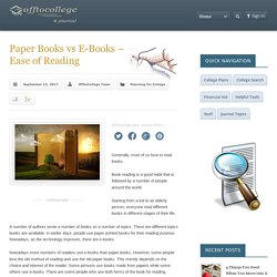 Paper Books vs E-Books - Ease of Reading ComparisonCollege Planning Center and Guides
