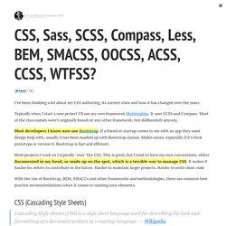 CSS, Sass, SCSS, Compass, Less, BEM, SMACSS, OOCSS, ACSS, CCSS, WTFSS?
