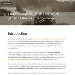 Climat-compatibilité des caisses de pensions suisses - État des lieux