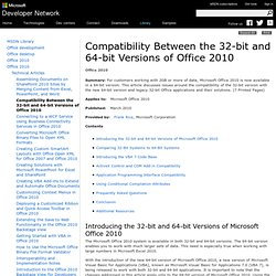 Compatibility Between the 32-bit and 64-bit Versions of Office 2010