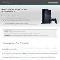 Harmony compatibility with PlayStation 4 - Harmony Support