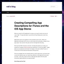 Creating Compelling App Descriptions for iTunes and the iOS App Stores