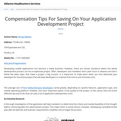 Compensation Tips For Saving On Your Application Development Project - Alliance Headhunters Services