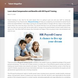 Learn about Compensation and Benefits with HR Payroll Training