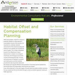 Habitat Offset and Compensation Planning – Anderson Environmental