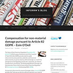 Compensation for non-material damage pursuant to Article 82 GDPR – Eoin O'Dell – Inforrm's Blog