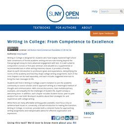 Writing in College: From Competence to Excellence - SUNY Open Textbooks OER Services