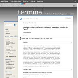 Quelle compétence informationnelle pour les usages juvéniles du Web?