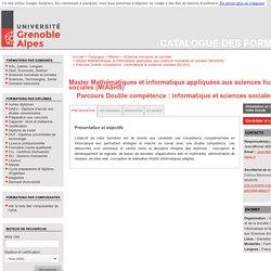 Grenoble Alpes Parcours Double compétence : informatique et sciences sociales (DCISS) - Catalogue des formations